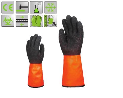 Bélelt PVC fluo narancs  sav-, lúg-, és vegyszerálló védőkesztyű, 35 cm, fekete Coral típusú érdesítés a tenyéren