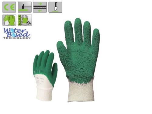 Zöld krepp latex vágásbiztos, csúszásgátló, szellőző hátú