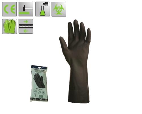 Vegyszer-, oldószerálló neoprén kesztyű, fekete