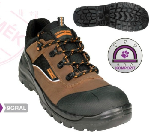 Granite (volt graphite) (S3 CK) barna nubukbőr felső, kompozit, orrborítás, saroktámasz, fényvisszaverő betét