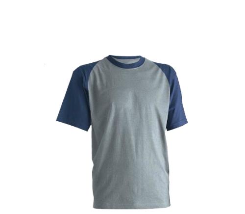 Póló (8NAVTL) környakas, 150 g/m2 vastag , 100% pamut, szürke/kék színben   ***KIFUTÓ***
