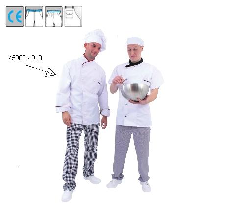 Szakácskabát hosszú ujjú, fehér, bordó szegély, kétsoros, cserélhető gombolás, 35% pamut, 65% pes, 245g/m2