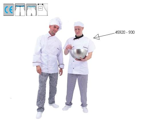 Szakácskabát rövid ujjú, fehér, fekete gallér, kétsoros, cserélhető gombolás, 35% pamut, 65% pes, 245g/m2