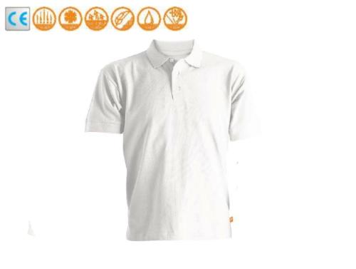 Galléros teniszpóló, rövid ujjú, beleszőtt UPF 50+ fényvédő, tencel sun, fehér, felnőtt méretek