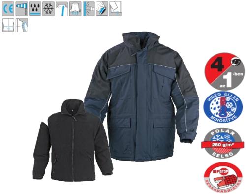 RIPSTOP 4/1-ben (5RIBB): polár belső mellény+polár ujjak+ripstop külső dzseki+egyben kék télikabát