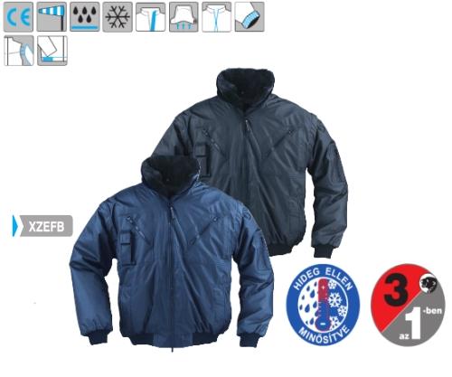 ZEFly  sötétkék 3/1 dzseki (5ZEFB), kivehető műszőrme bélés, levehető ujjak és gallér, vízhatlan poliészter