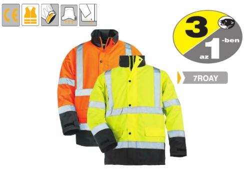 ROADWAY télikabát, sárga/kék, 7ROAY melegbélés, Oxford külső, taft belső, fényvisszaverő csíkok