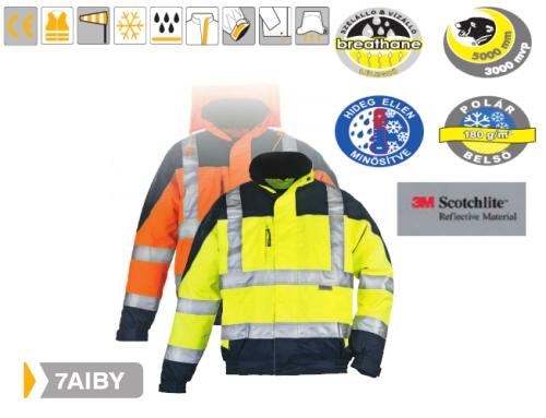 AIRPORT sárga/kék szellőző BreathaneŽ kabát, vízhatlan Oxford külső, thermo polár belső