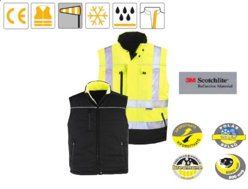 TELEPORT sárga/fekete Softshell, kifordítható mellény, extra vízállósággal