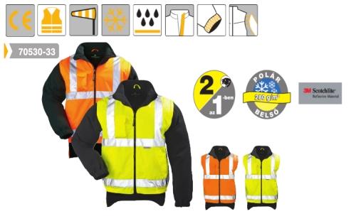 Narancs fluo kabát: mellény levehető polár ujjakkal, hosszított hátrésszel