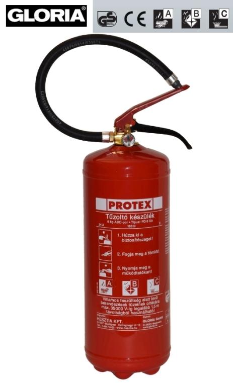 6 kg ABC porral oltó tűzoltó készülék - Protex PD 6 GA poroltó