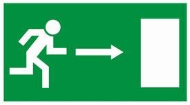 Kijárat jobbra, MJ003, Menekülési útvonal, után világítós menekülési útvonalat jelző öntapadós tábla