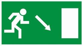 Kijárat jobbra, le, MJ008, Menekülési útvonal, után világítós menekülési útvonalat jelző öntapadós tábla  jobbra-le mutató nyíllal