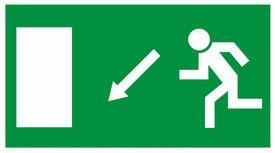 MJ009, menekülési út, balra le, Menekülési útvonal, után világítós menekülési útvonalat jelző öntapadós tábla  balra-le mutató nyíllal