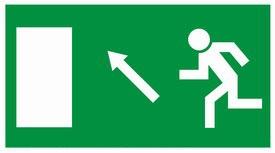 Kijárat, balra fel, MJ010, Menekülési útvonal, után világítós menekülési útvonalat jelző öntapadós tábla  balra-fel mutató nyíllal