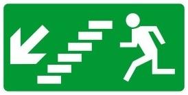 Menekülési út balra, lefele, MJ015, Menekülési útvonal, után világítós menekülési útvonalat jelző öntapadós tábla  balra-lépcső-le mutató nyíllal