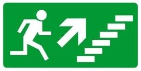 Menekülési út, jobbra, fel MJ016, Menekülési útvonal, után világítós menekülési útvonalat jelző öntapadós tábla jobbra-lépcső-fel mutató nyíllal