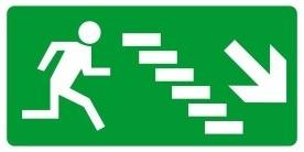 Menekülési út, jobbra, le, MJ018 után világítós menekülési útvonalat jelző öntapadós tábla jobbra-lépcső-le mutató nyíllal