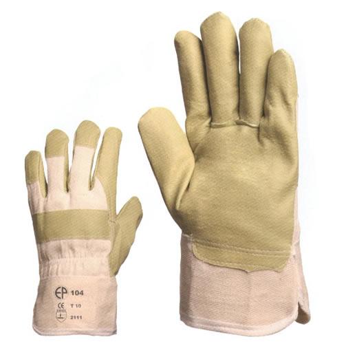 PVC/nitril műbőr anyagból sárga, tenyérbéléses védőkesztyű 104-es