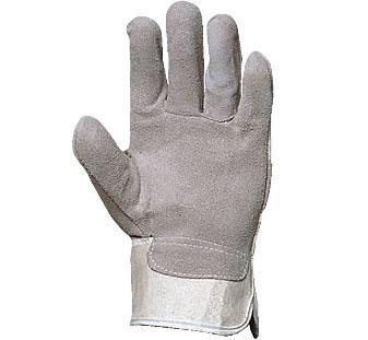 Szürke marhahasíték tenyérbéléssel, fehér vászon kézhát 150-es